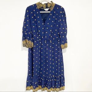Boden Blue with yellow embroidery dress